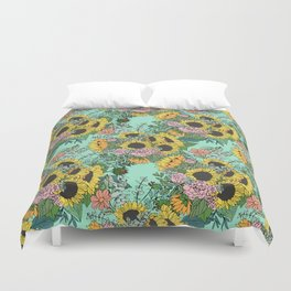 Trendy yellow sunflowers and pink roses mint design Duvet Cover