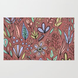 Flowers and Leaves Pattern Rug