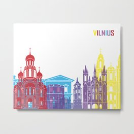 Vilnius skyline pop Metal Print