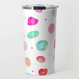Cute watercolor hand painted donuts foodie pattern Travel Mug