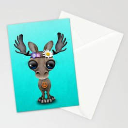 Cute Baby Moose Hippie Stationery Cards