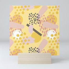 Mid Century Modern Abstract Yellow And Blush Pattern VI Mini Art Print