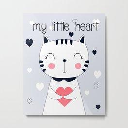 CAT CARTOON WITH HEART Metal Print
