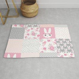 Bunny quilt baby decor newborn nursery charlotte winter pink grey decor for little girl Rug