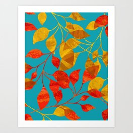 Gold and Red Leaves Art Print