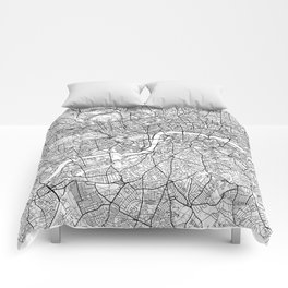 London Map White Comforters