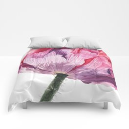 The Oriental Poppy, Realistic Watercolor Botanical Painting Comforters