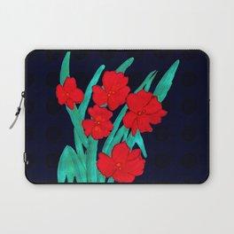 Red flowers gladiolus art nouveau style Laptop Sleeve