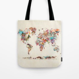 world map watercolor deux Tote Bag