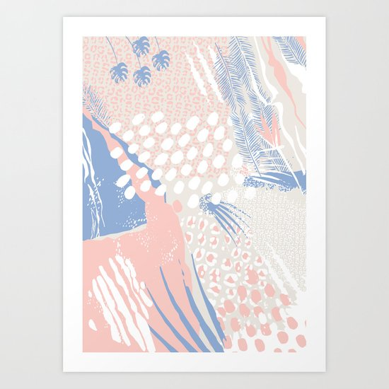 wild cats winter print (rose quartz and serenity) Art Print
