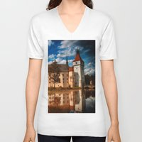 castle V-neck T-shirts featuring Castle by DistinctyDesign