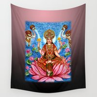 hindu Wall Tapestries featuring Goddess Lakshmi by Harsh Malik