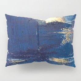 Halo [2]: a minimal, abstract mixed-media piece in blue and gold by Alyssa Hamilton Art Pillow Sham