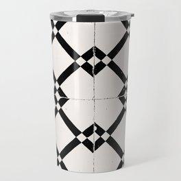 Portuguese Tile Black and White Pattern Travel Mug