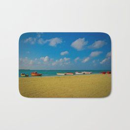Colorful Boats Adorn the Tranquil Beach Bath Mat