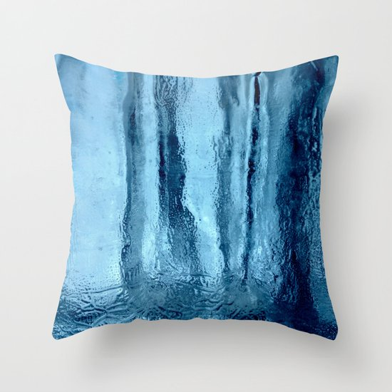 Ice Blue Throw Pillows : Ice with blue tonnes in a cold winter Throw Pillow by Anka Society6