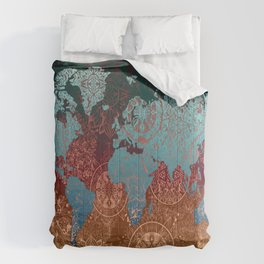 world map mandala vintage Comforters