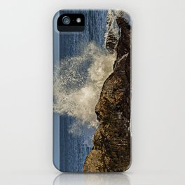 Wave crashing on the rocks iPhone Case