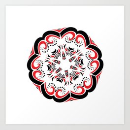 Floral Black and Red Round Ornament Art Print