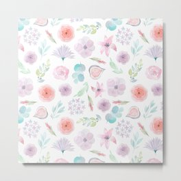 Pastel pink lilac watercolor hand painted modern floral Metal Print