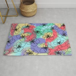 Hibiscus Family no.2 - hibiscus flower illustration floral pattern Hawaiian painting Rug