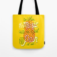 radio Tote Bags featuring Radio by CaliDoso