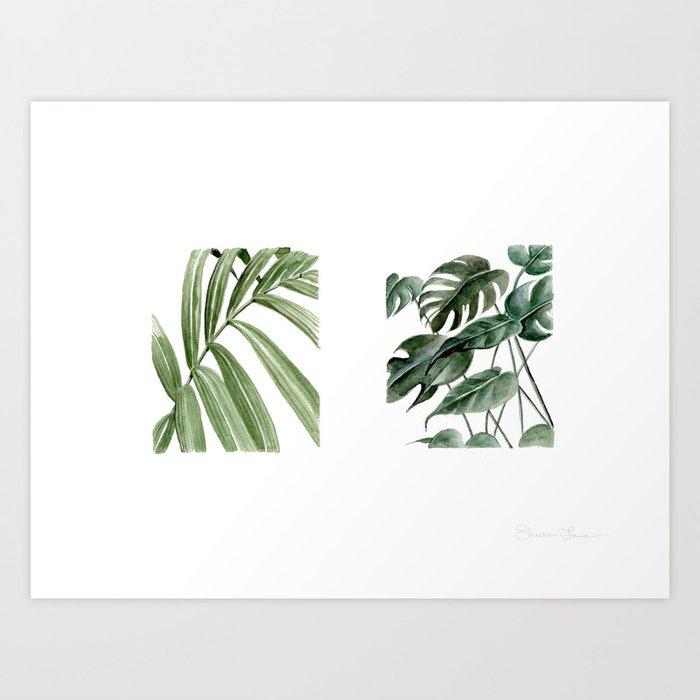 Greenery Squares Watercolor Painting Art Print