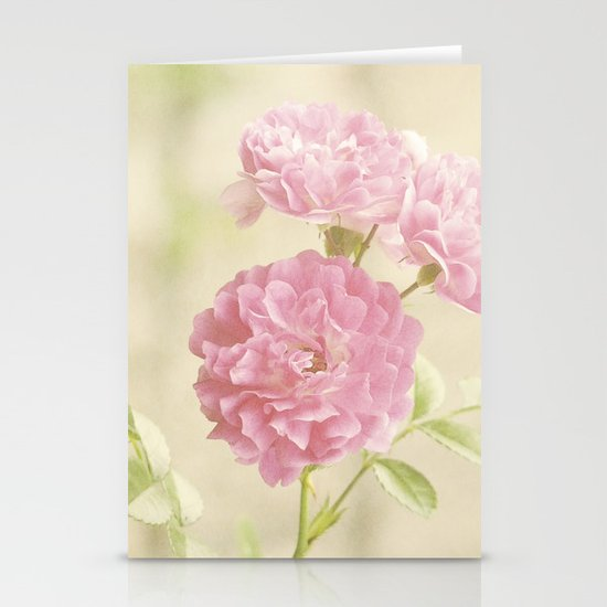 Vintage Pink Ruffled Roses II Stationery Cards