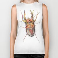 beetle Biker Tanks featuring Beetle by Cherry Virginia