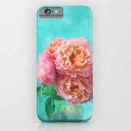 Pink Rose Bouquet in a terracotta vase iPhone Case