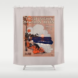 1916 Vintage Hawaii blues sheet music cover  Shower Curtain