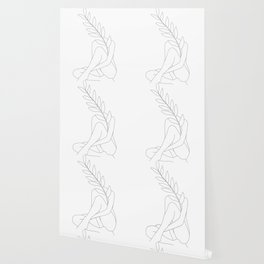 Minimal Line Art Woman with a Tropical Leaf Wallpaper