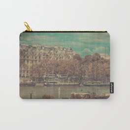 Paris Seine with Boats, Vintage Themed Orange and Teal Carry-All Pouch
