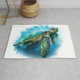 Abstract Watercolor Sea Turtle on White 3 Minimalist Coastal Art - Coast - Sea - Beach - Shore Rug