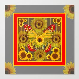 MODERN GREY-RED BUTTERFLY SUNFLOWERS TAPESTRY  ART Canvas Print