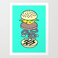 burger Art Prints featuring Burger by Jan Luzar