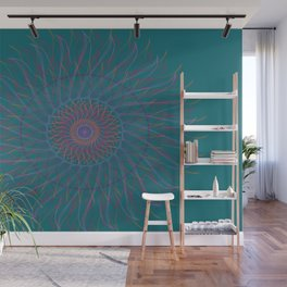 Blue fire mandala Wall Mural