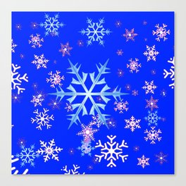 DECORATIVE BLUE  & WHITE SNOWFLAKES PATTERNED ART Canvas Print