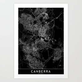 Canberra Black Map Art Print