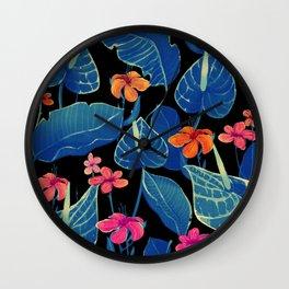 Blue Flowers at night Wall Clock