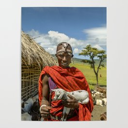 Maasai 4279 Tribesman with Goat Poster
