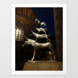 Bremen Town Musicians (sculpture, at night) Art Print
