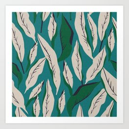 JUNGLE PALM COASTAL LINEN  Art Print