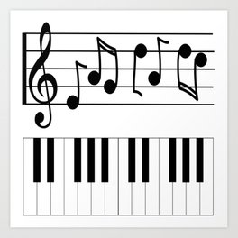 Music Notes with Piano Keyboard Art Print