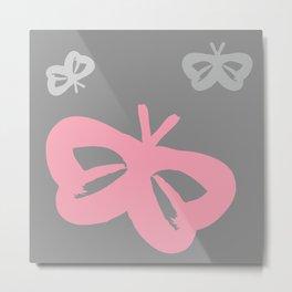 Flying Butterflies Pattern Color Splash Metal Print