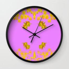 DECORATIVE MODERN PINK-DAFFODILS ART FLORAL Wall Clock