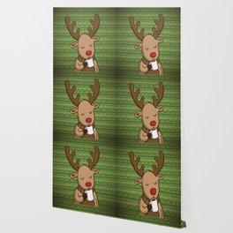 Christmas Deer Enjoying with Coffee Wallpaper