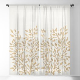 Golden Ficus Tree Sheer Curtain