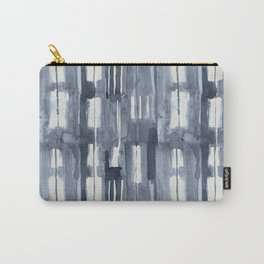 Simply Shibori Lines in Indigo Blue on Lunar Gray Carry-All Pouch