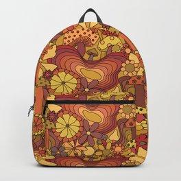 Groovy Mushroom Garden in Rusty Orange Backpack